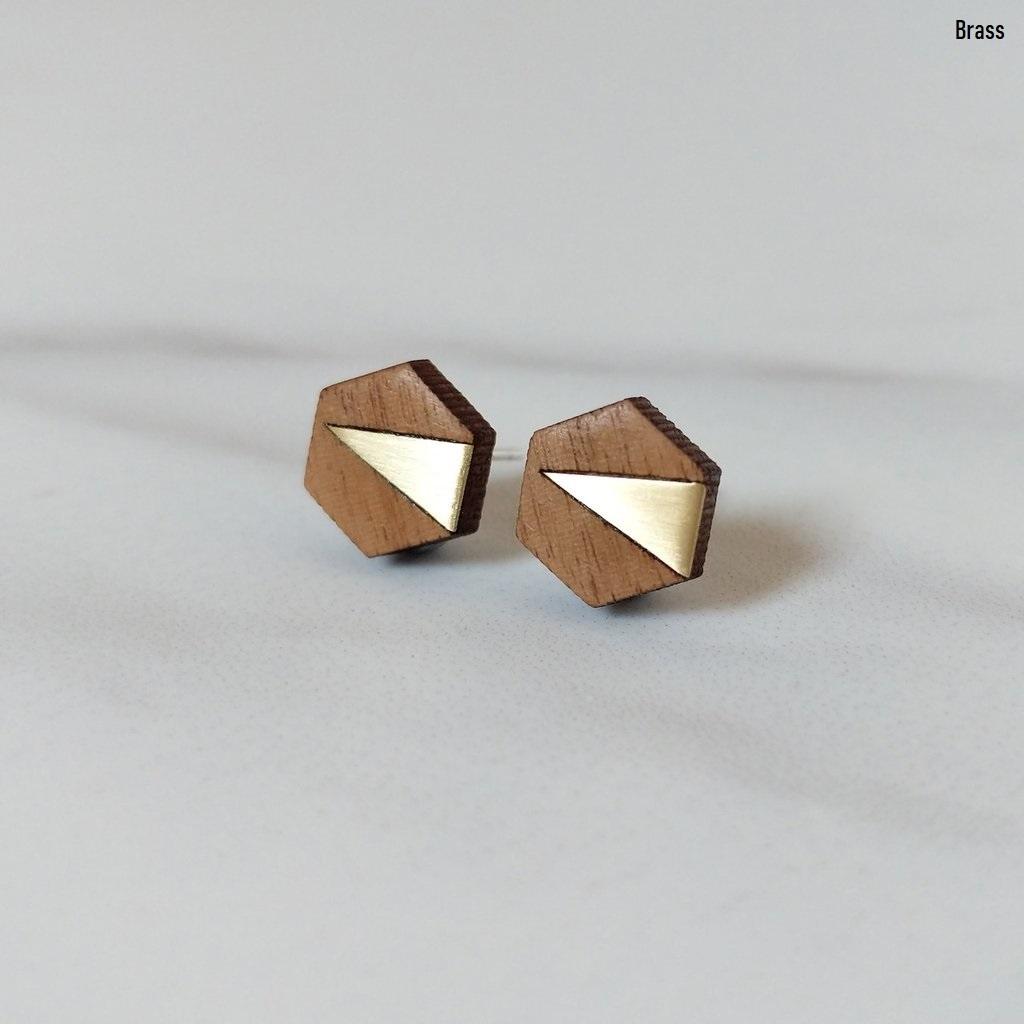 Elsa Geometric Studs | 結婚記念日プレゼント | ピアス | 木婚式 | 銅婚式 | 鋼婚式 |