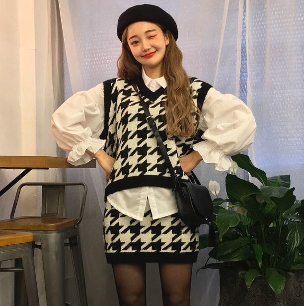 【送料無料】ガーリーなセットアップコーデ♡ シャツ ニット ベスト スカート 3点セット