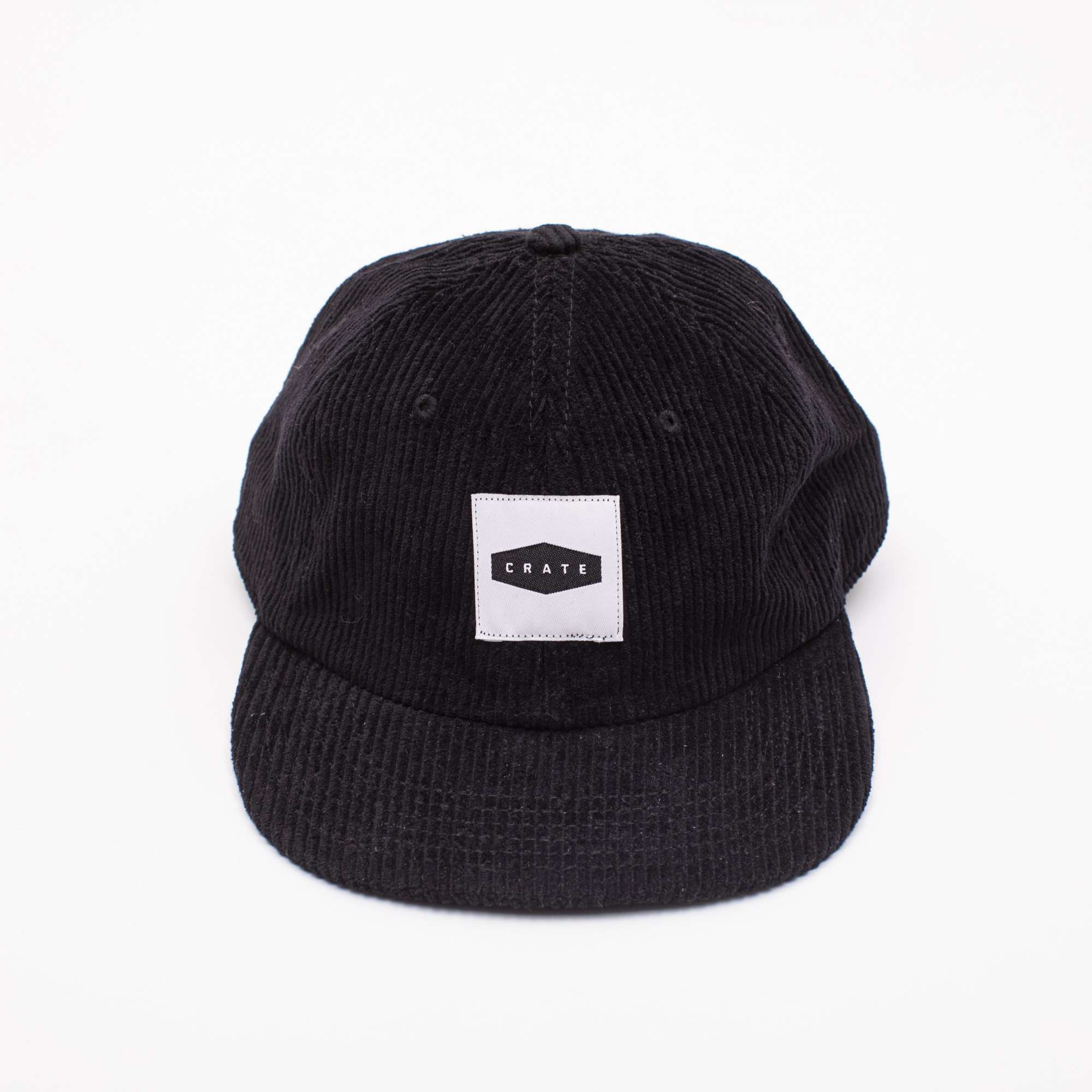 CRATE BOX PATCH CORDUROY CAP BLACK