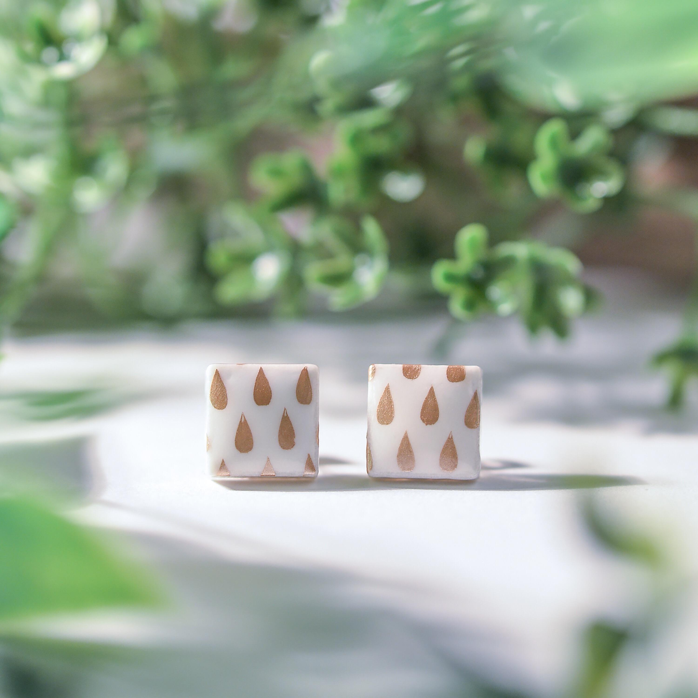 伝統工芸品 美濃焼 陶器のイヤリング&ピアス 北欧柄