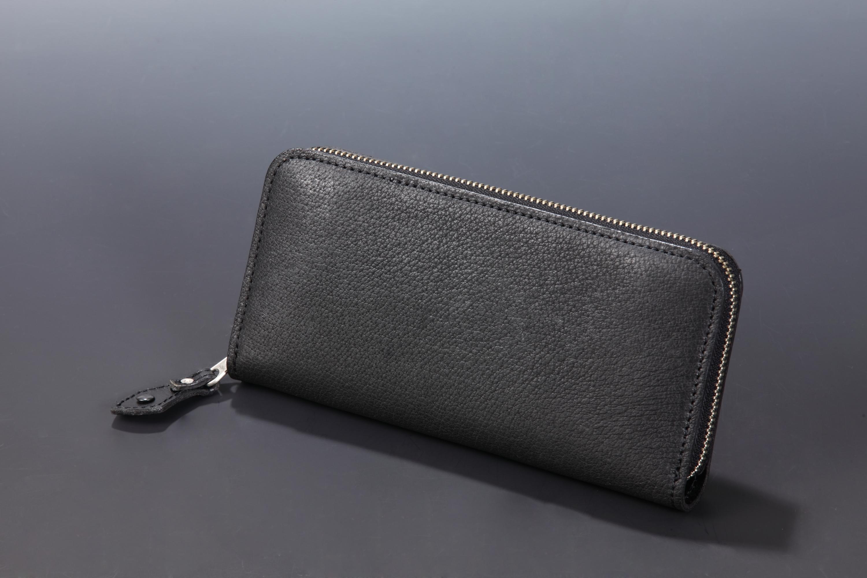 【国産イノシシ革】フルジップ ロングウォレット(Black)【NOTO Leather使用】