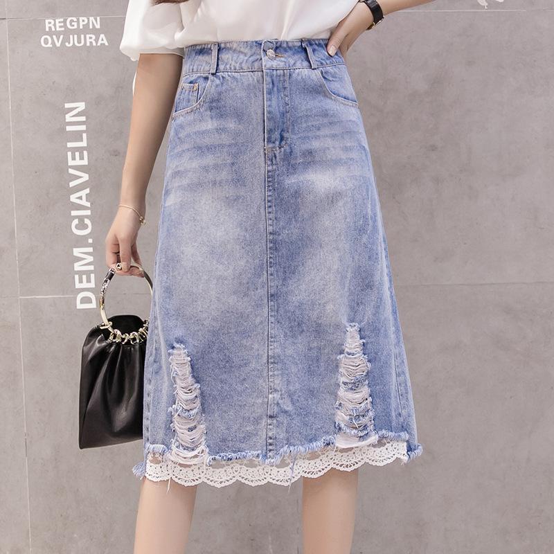 【ボトムス】ファッションデニムレース切り替え膝丈Aラインスカート17501424