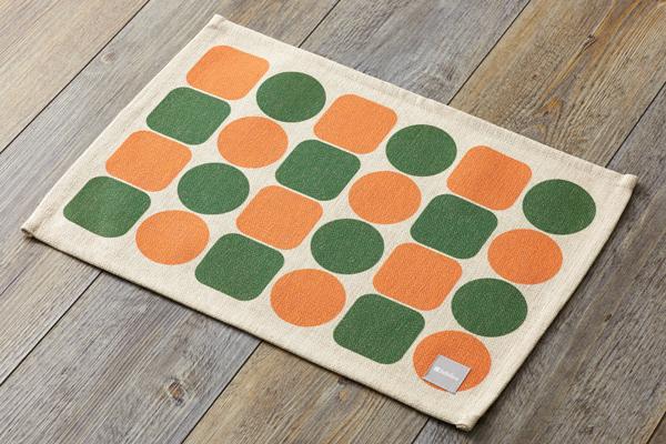 オレンジグリーンタイル ランチョンマット 2枚セット