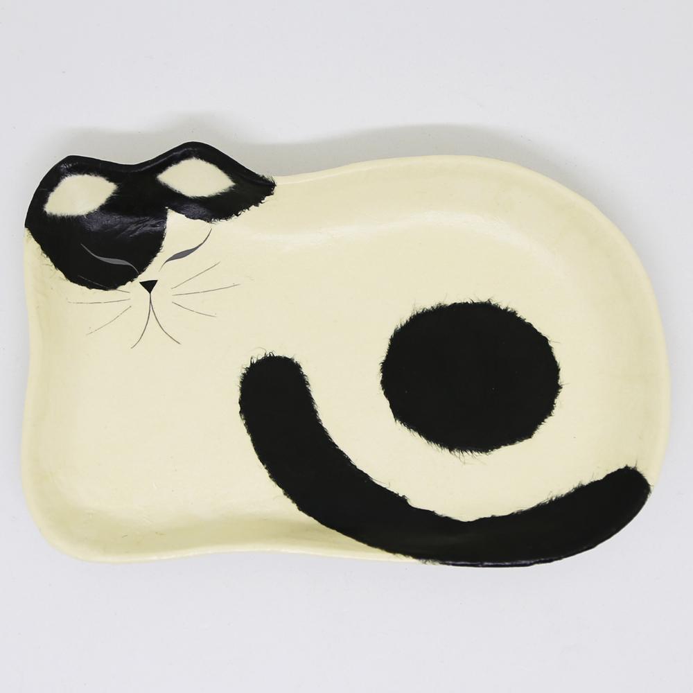 猫トレイ(和紙クラフトひだまりのらペーパーキャット大)白黒ねこ