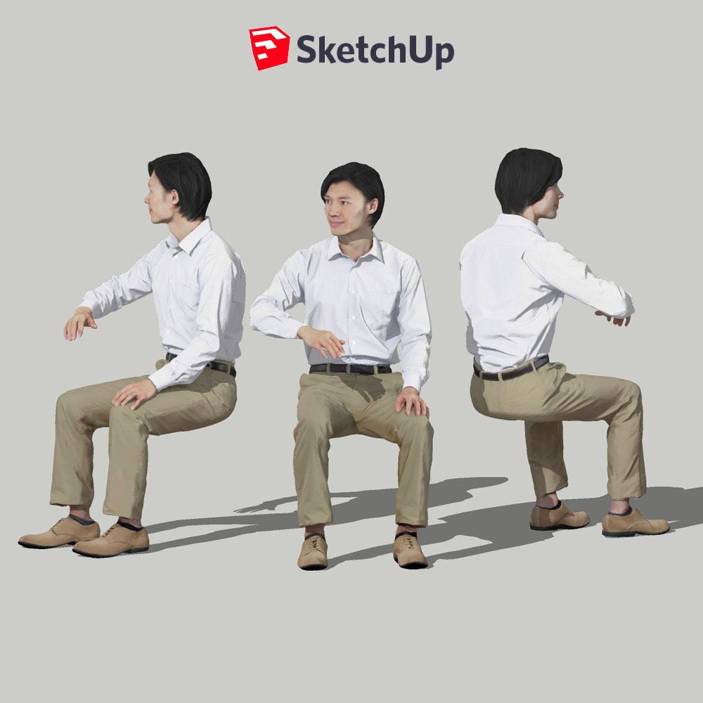SketchUp素材 3D人物モデル ( Posed ) 065_Syun - 画像1