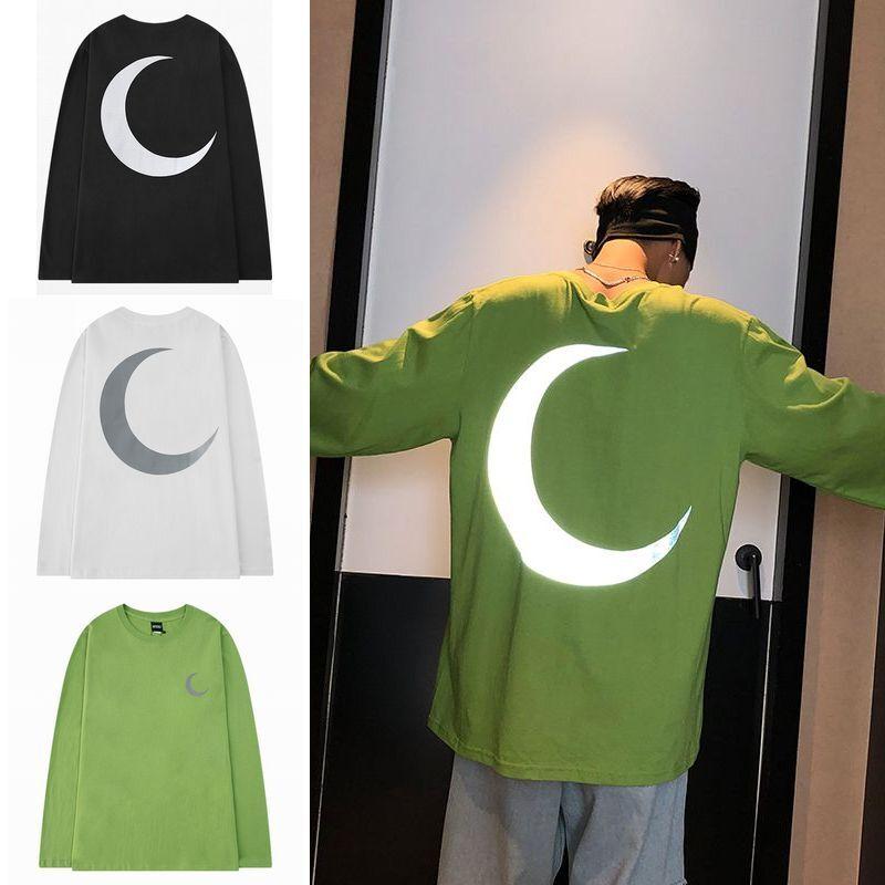 ユニセックス 長袖 Tシャツ メンズ レディース 三日月 反射プリント ラウンドネック オーバーサイズ 大きいサイズ ストリート