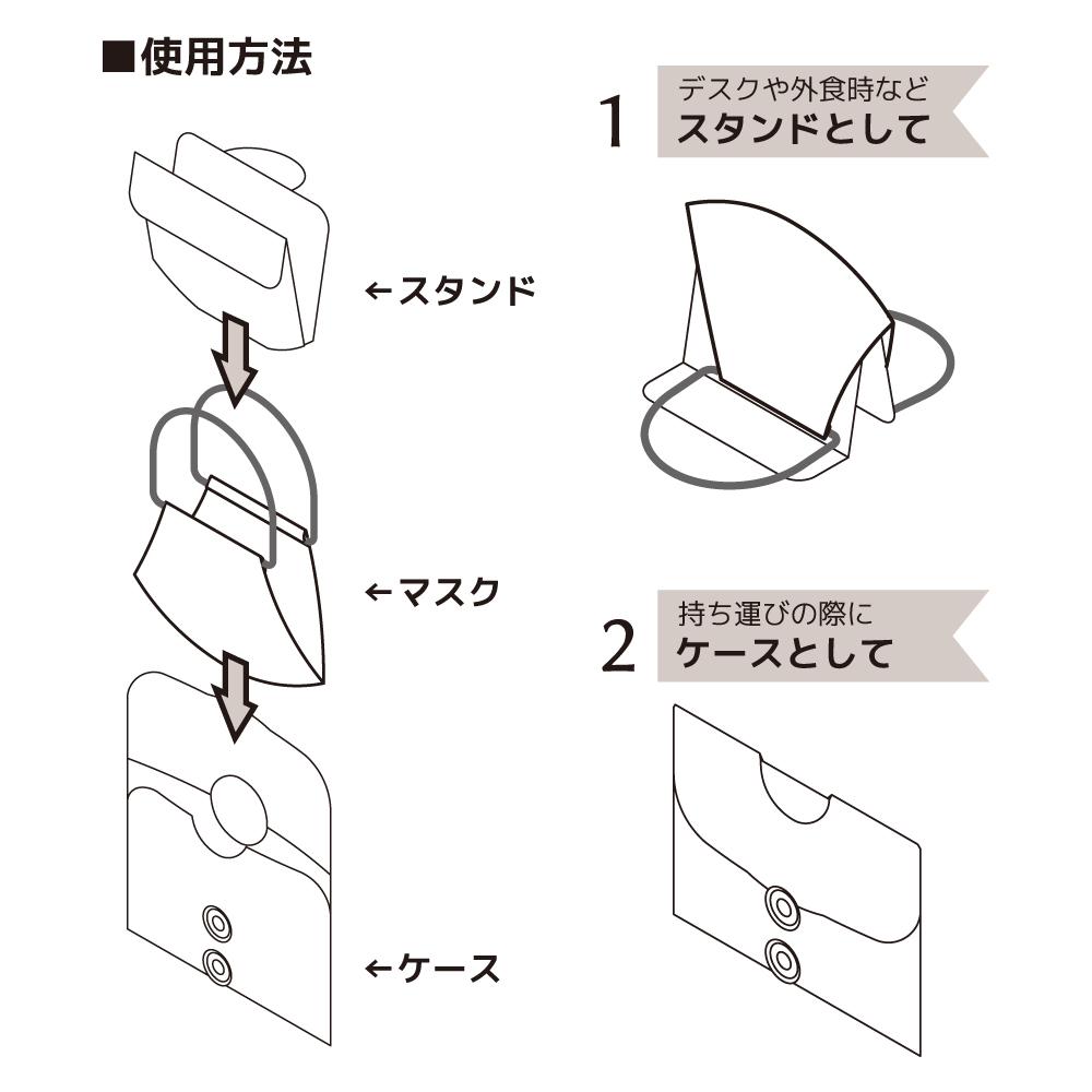 【白×花柄】マスクケース&マスクケース(小サイズ)MSGB01C