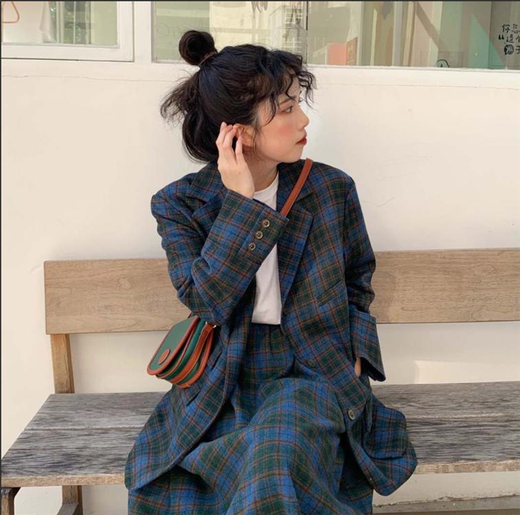 【送料無料 】おしゃれセットアップ ♡ 2点セット チェック柄 テーラード ジャケット × Aライン ロング スカート