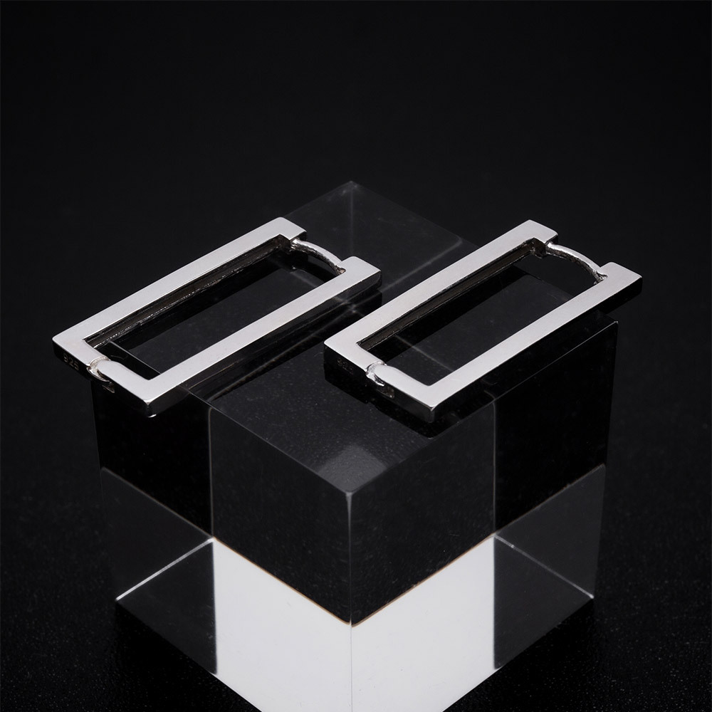 square pierce silver 925
