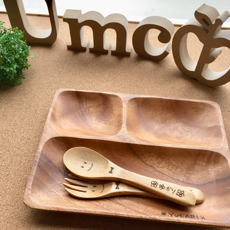 《2セット》木製トレーセット《竹製フォーク&スプーン》