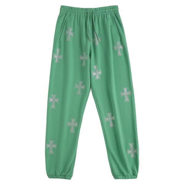 UNKNOWN Green Cross Rhinestone Jogger Pants GREEN
