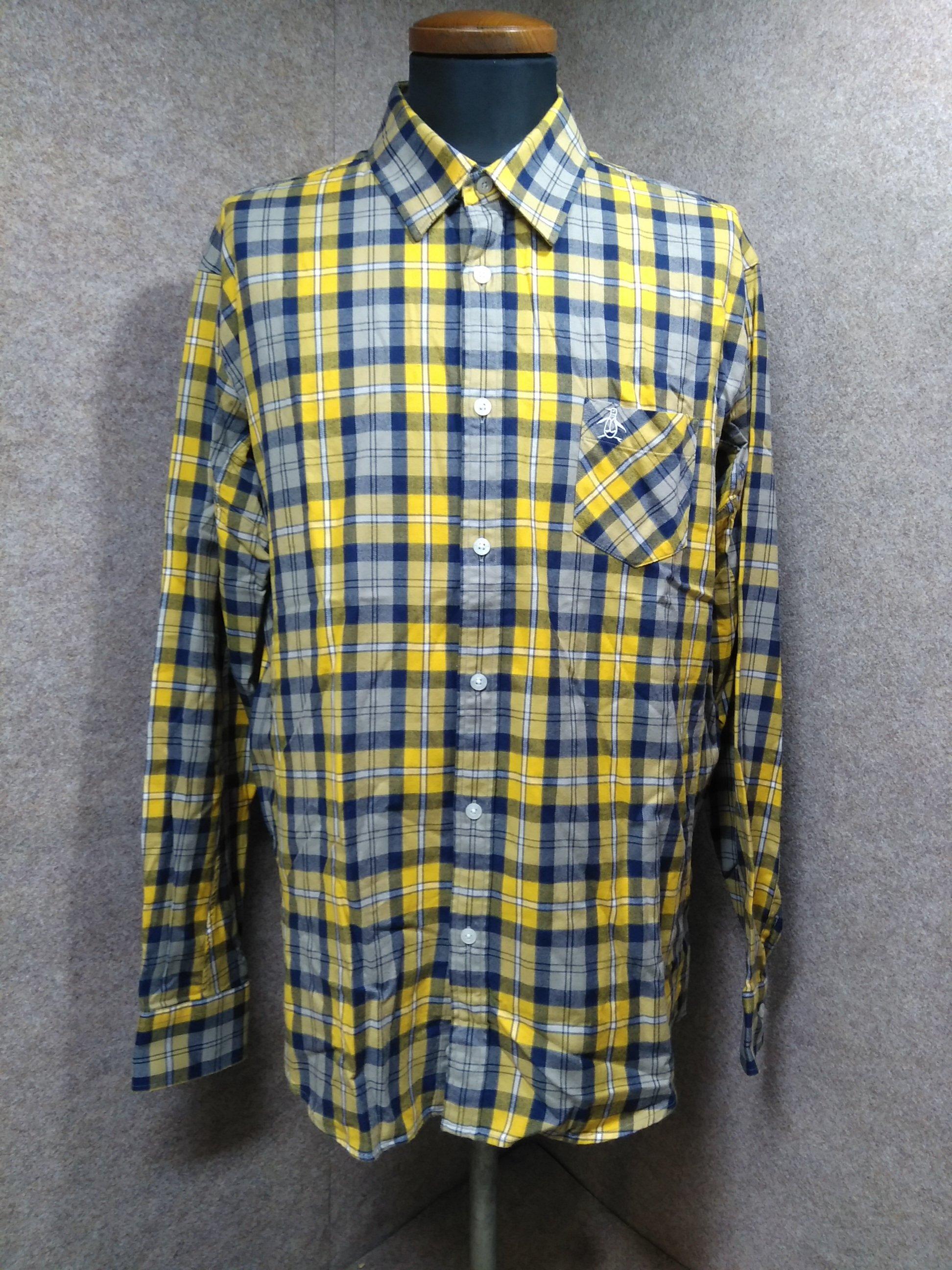 マンシングウェア チェック ネルシャツ 3L 大きいサイズ 黄色 mu517s