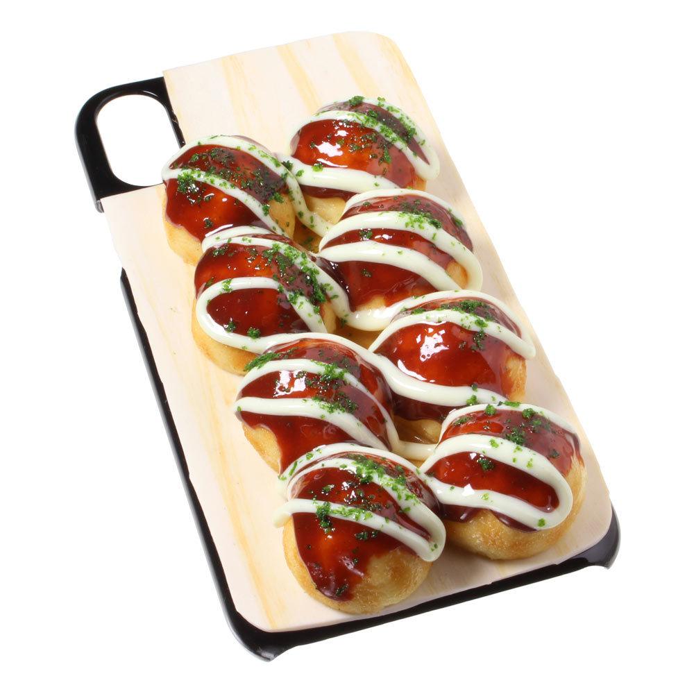 [8000]食品サンプル屋さんのスマホケース(iPhone XS、XS Max、XR:たこ焼き)【メール便不可】