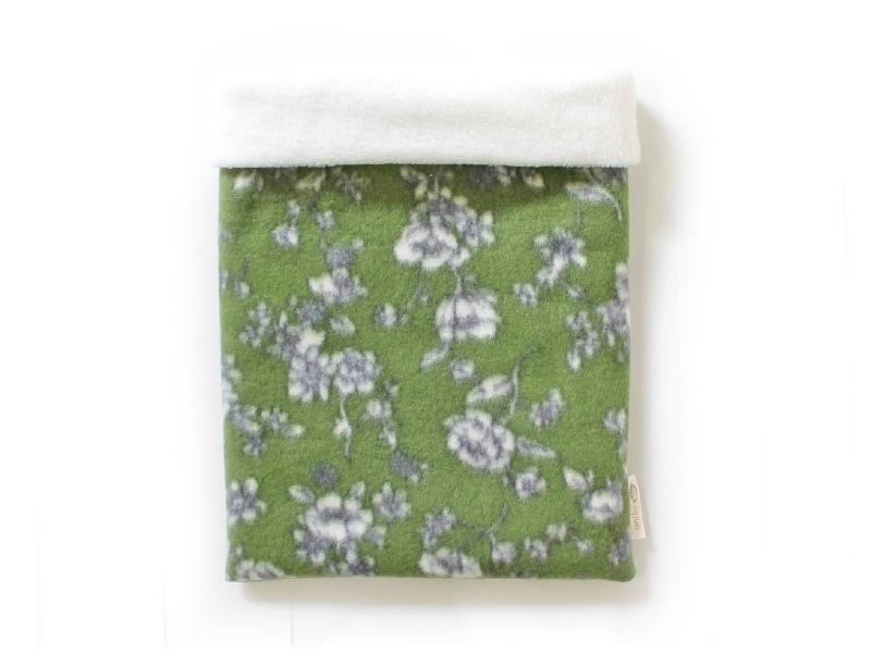 ハリネズミ用寝袋 L(冬用) フリース×フリース 芍薬 緑