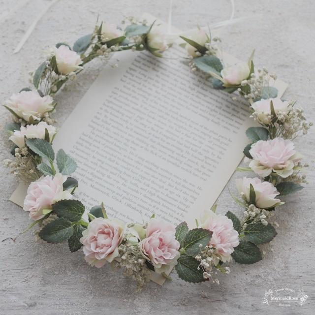 花冠*シャビーシックかすみ草フリルローズピンクS