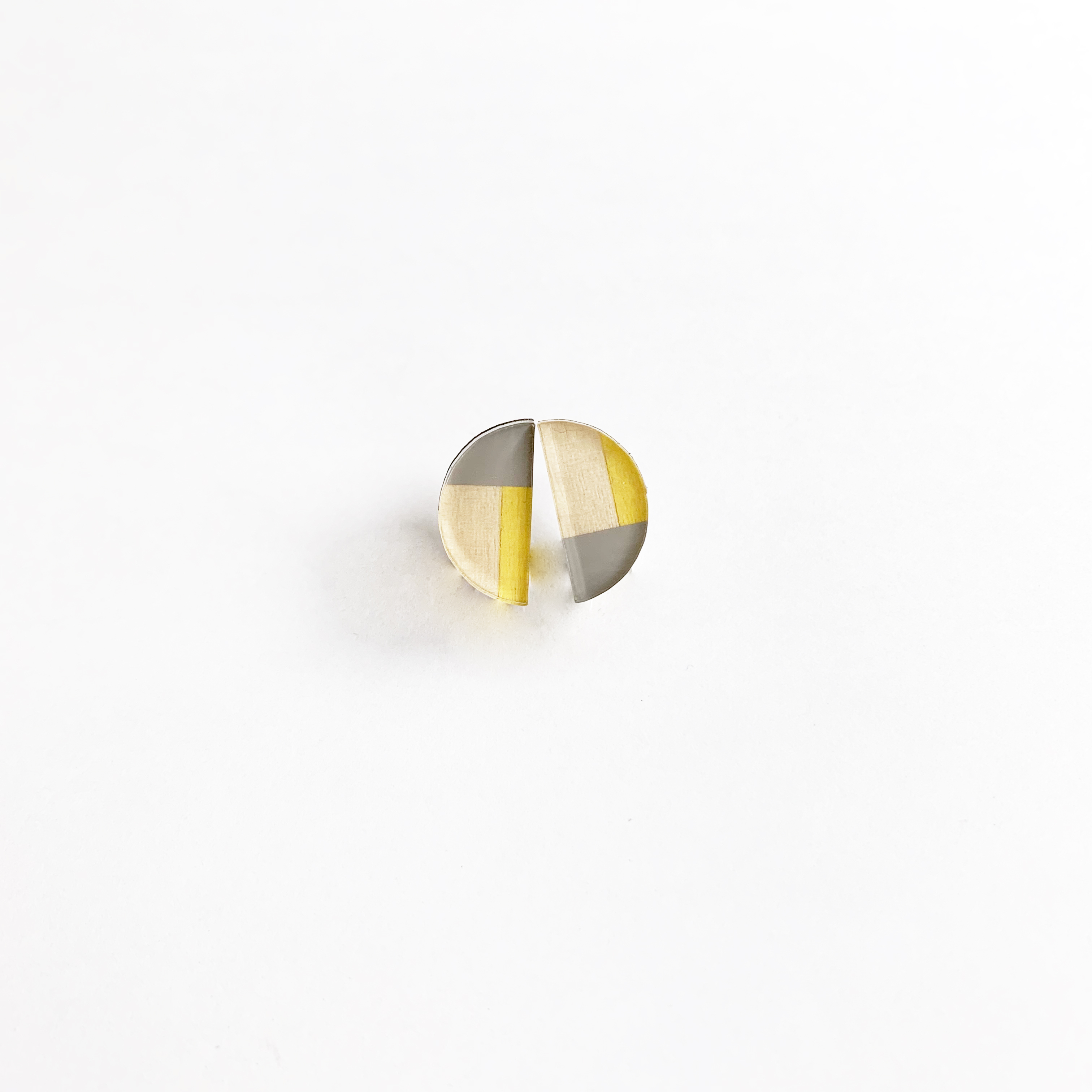 2カラー半円イヤリング