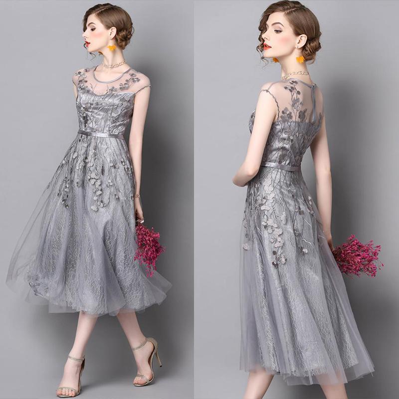 2fe747401 【送料無料】春 上品でシックな総レースドレス パーティドレス ロングドレス