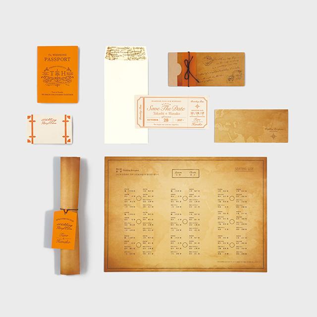 活版印刷の招待状・席次表・席札セット DEPARTURE OF JOURNEY-旅の出発 70セット