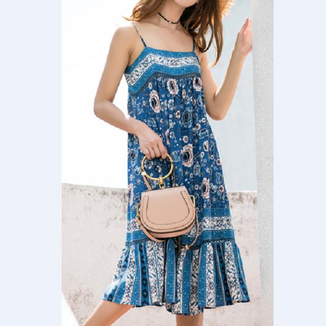 売れ筋☆おすすめ☆ ワンピース ボヘミア ロングスカート ノースリーブドレス フレア 大人かわいい