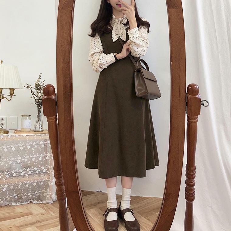 【送料無料】レトロ&ガーリー ♡ 大人可愛い リボン付き ドット柄 ブラウス × ジャンパースカート ワンピース