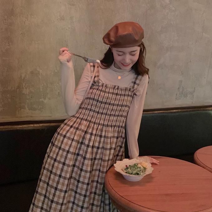 【送料無料】 ベイクドカラーコーデ♡ 大人可愛い レトロ セットアップ チェック ジャンパースカート & ハイネック カットソー