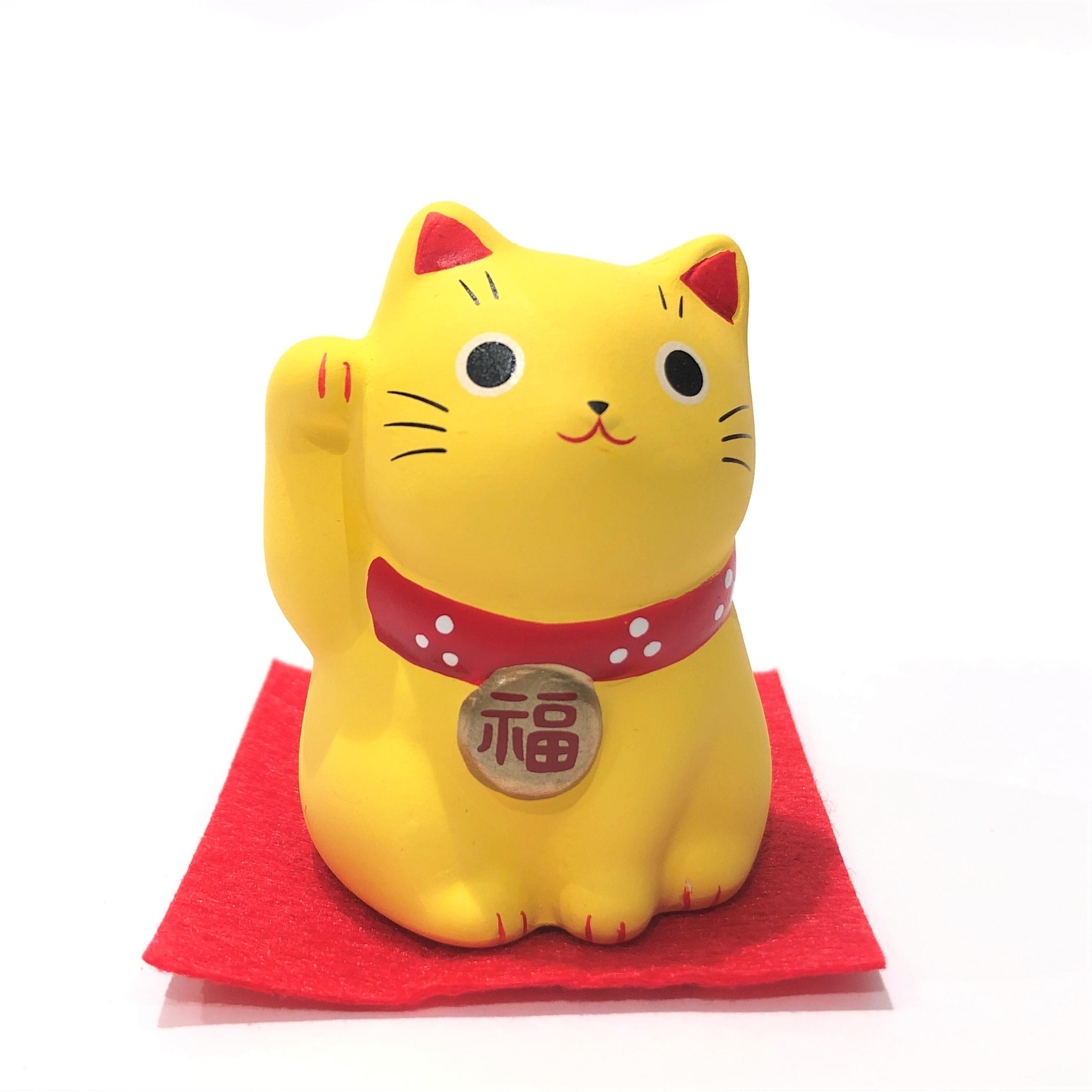 錦彩福おいで招き猫 黄猫 金運万来
