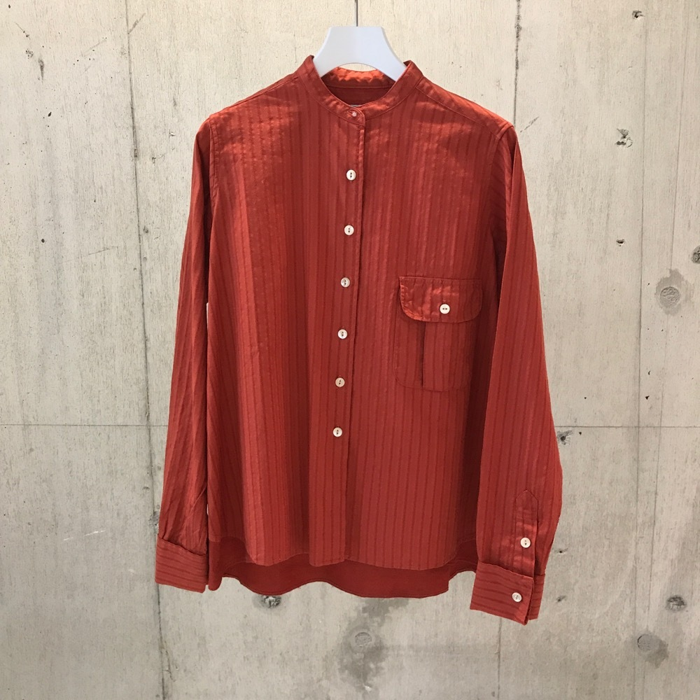 FILL THE BILL COTTON DOBBY STRIPE BAND COLLAR SHIRTS ORANGE 【WOMENS】