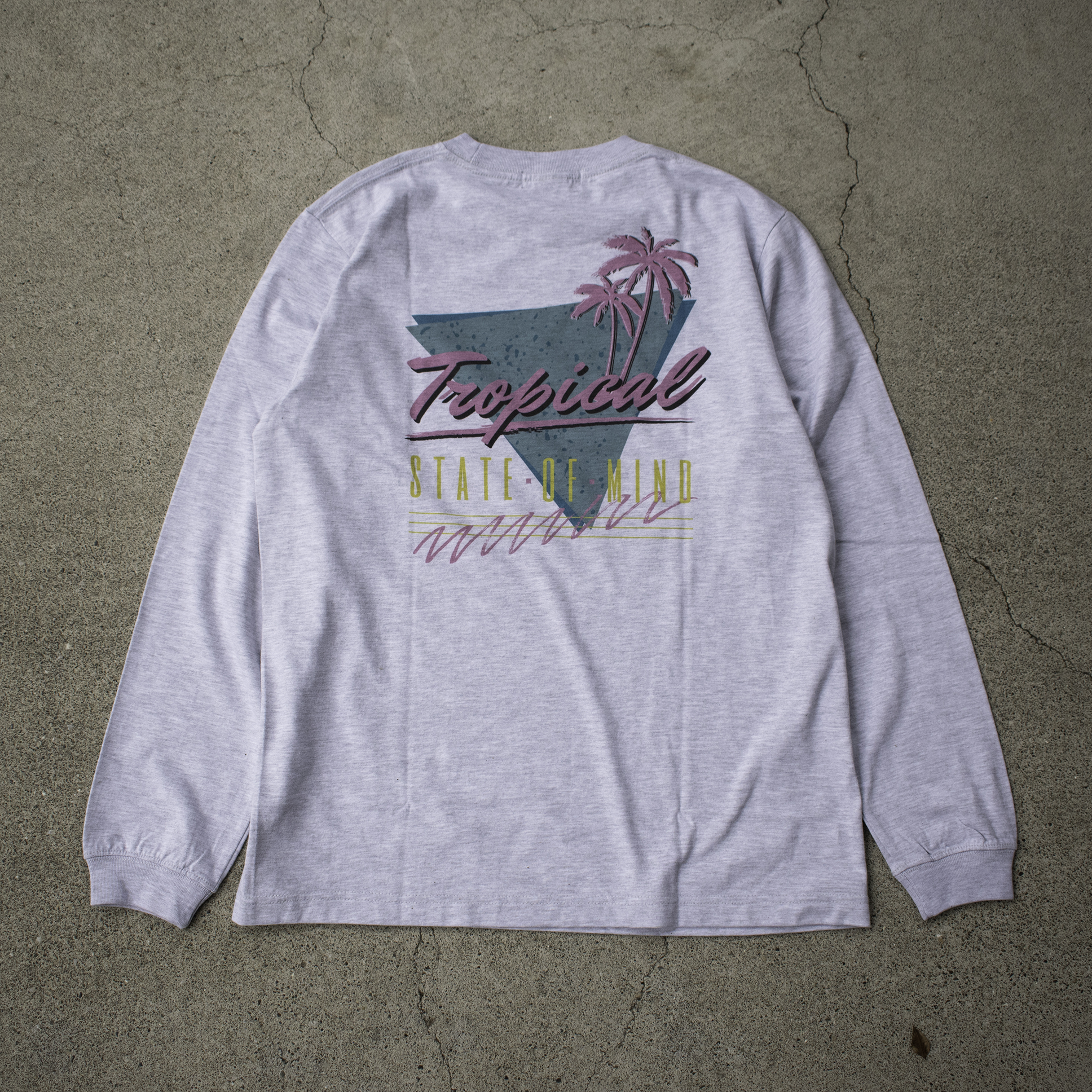 """""""TROPICAL STATE OF MIND""""  L/S TEE - アッシュグレー"""