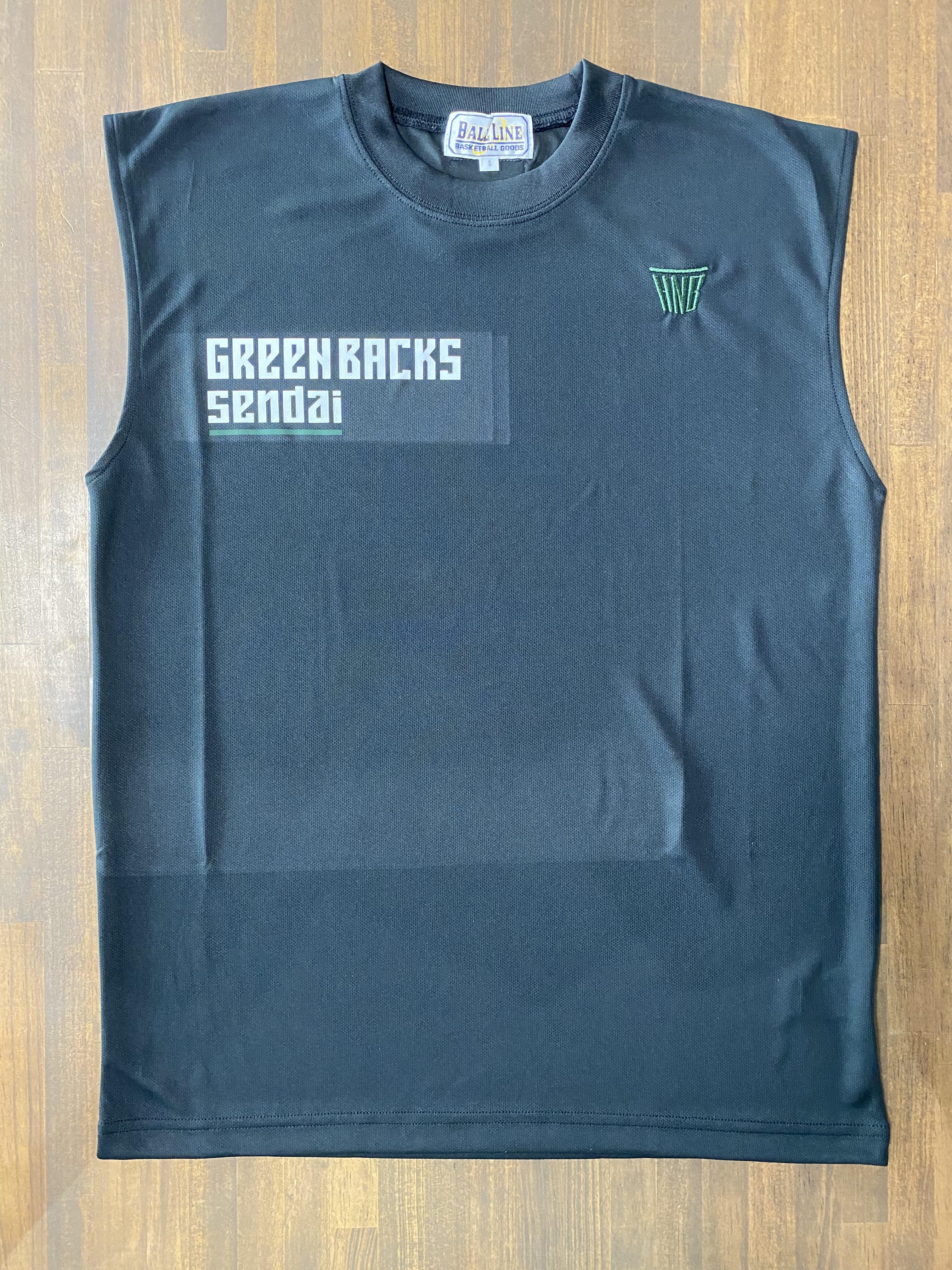 【デザインサンプル】川内GREENBACKS  (U12・男子)  スリーブレスシャツ