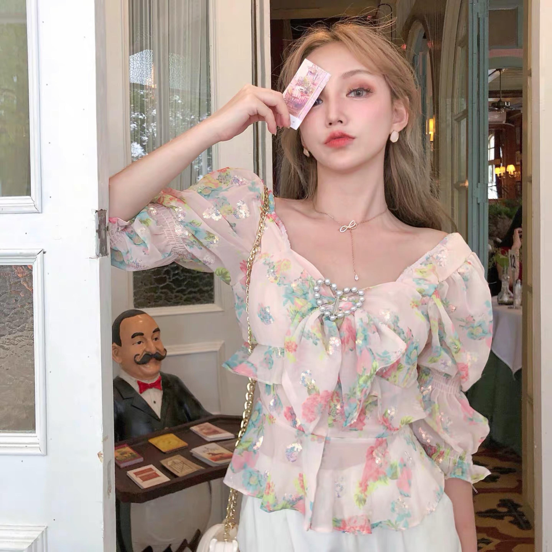 glitter heart flower blouse