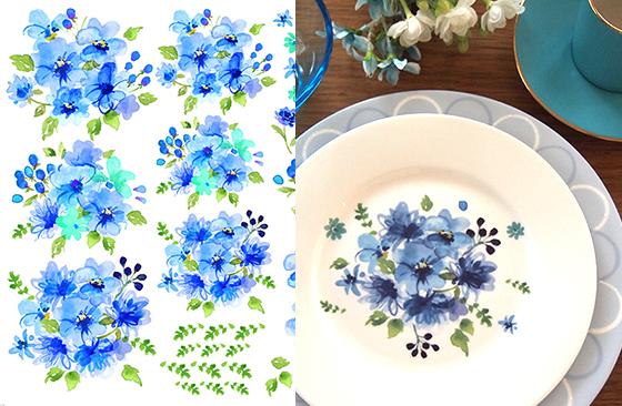 水彩ソフトフラワー ブルー A3サイズ (ポーセリンアート用転写紙 花柄)