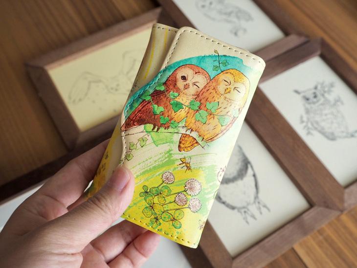 《送料無料/受注生産》フクロウたちと絵本の森の三つ折りキーケース