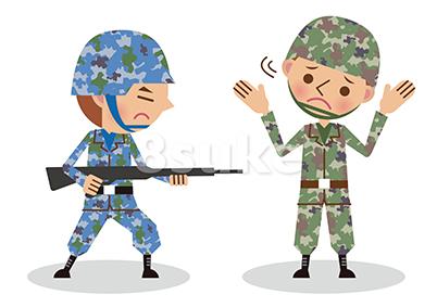 イラスト素材:攻撃されても抵抗できない自衛官のイメージ(ベクター・JPG)
