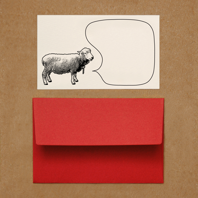 封筒つきメッセージカード(ヒツジ)