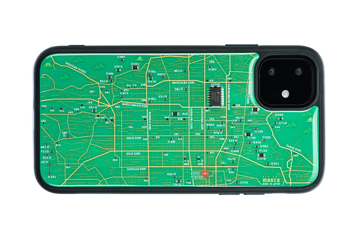 FLASH 京都回路地図 iPhone 11 ケース  緑【東京回路線図A5クリアファイルをプレゼント】