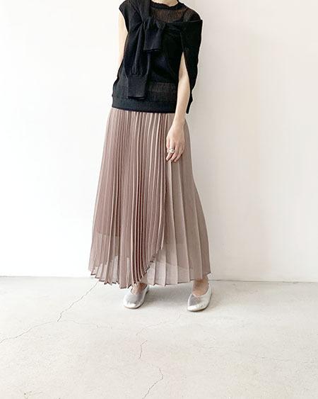 ラップ風ランダムプリーツスカート /  Lallia Mu