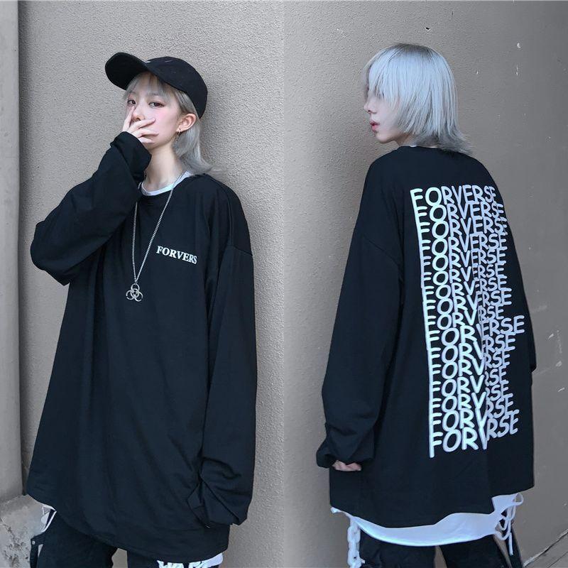 ユニセックス 長袖 Tシャツ メンズ レディース 英字 バックプリント ロンT オーバーサイズ 大きいサイズ ストリート