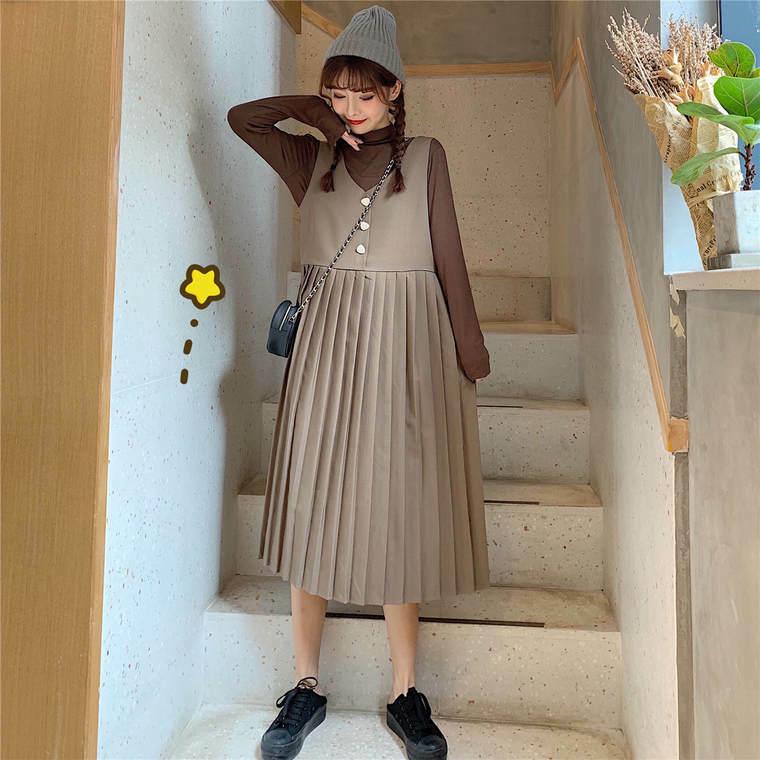 【送料無料】注目 ! プリーツ アイテム ♡ 2点セット セットアップ ロンT × ジャンパースカート ワンピース