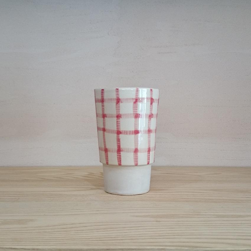 陶器 ギンガム レッド