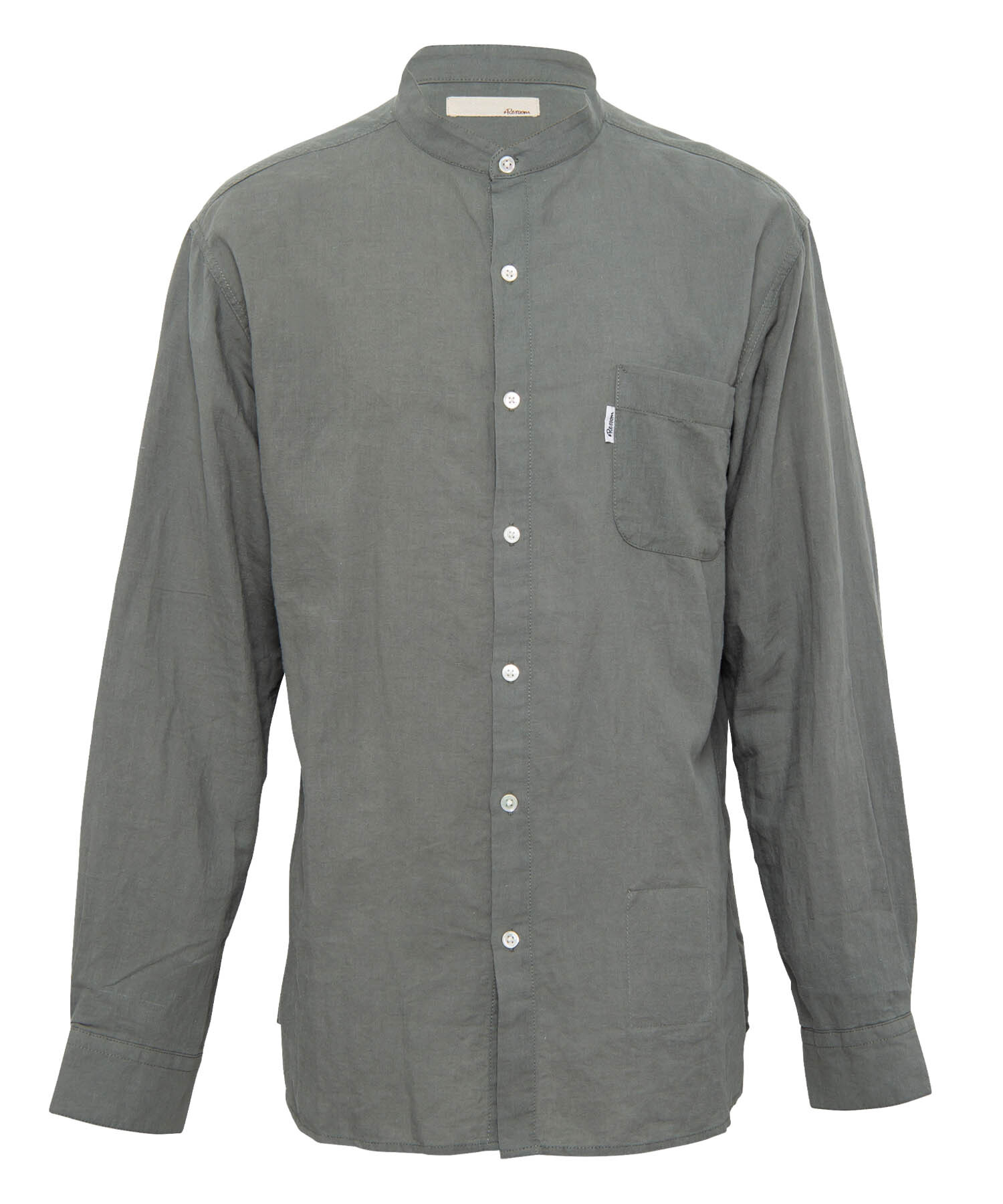 LINEN STAND COLLAR BIG SHIRTS[RES052]