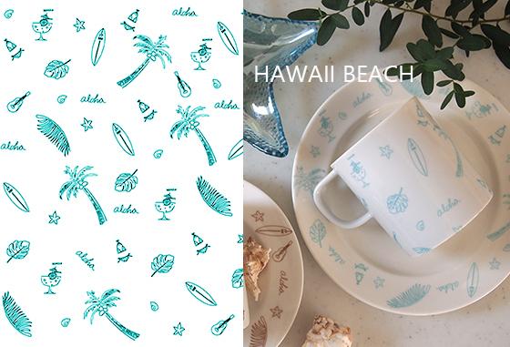 ハワイビーチ ミントブルー A3サイズ(ポーセリンアート用 転写紙 HAWAII)