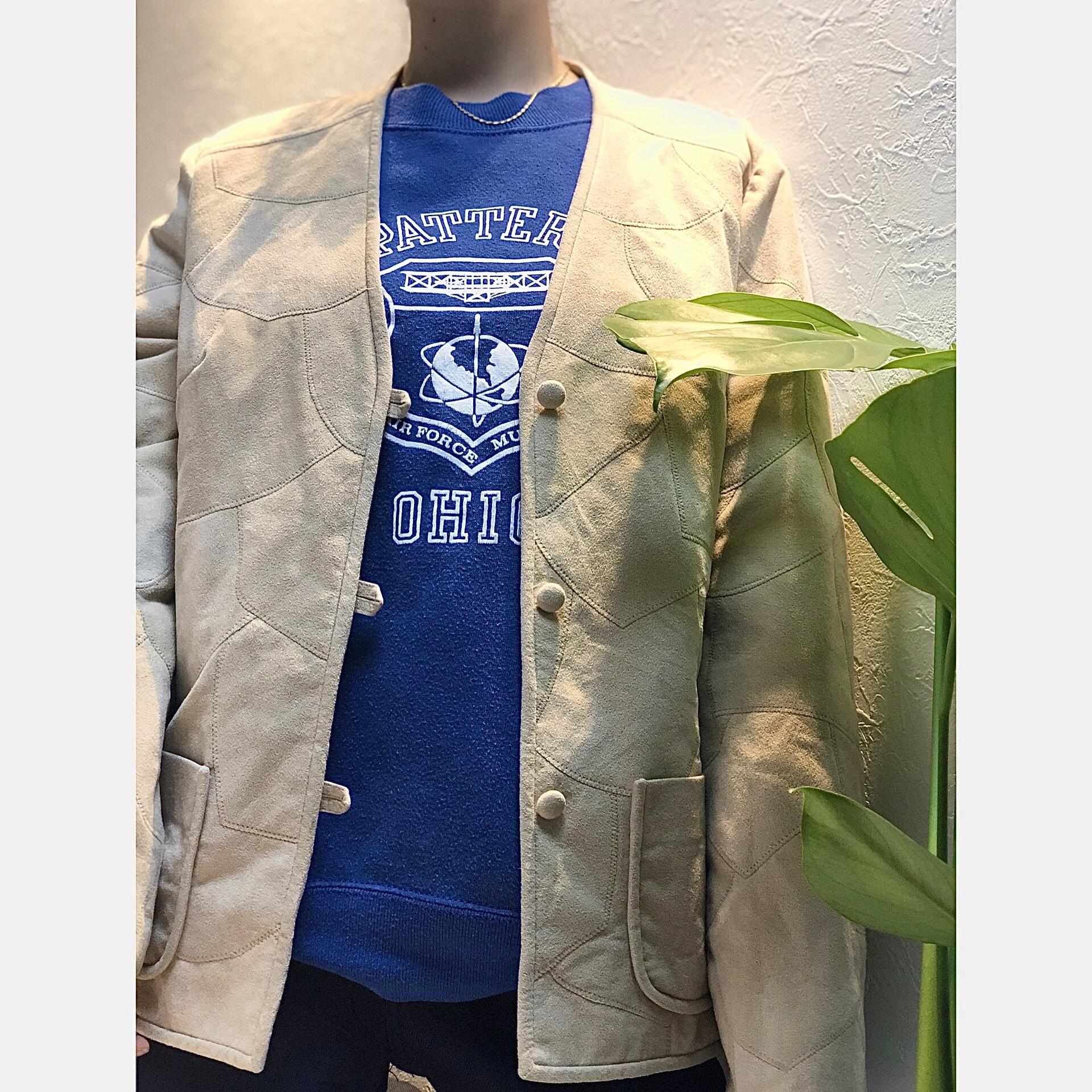 Suede quilting nocollar jacket