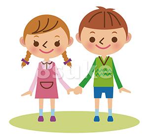 イラスト素材:手をつなぐ幼い男の子と女の子(ベクター・JPG)