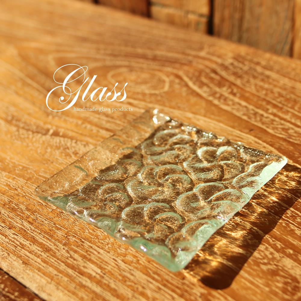 ■当日出荷■ハンドメイドガラスのお皿 スクエアプレートフラワーS アソート GL13 ガラス 取り皿 小皿