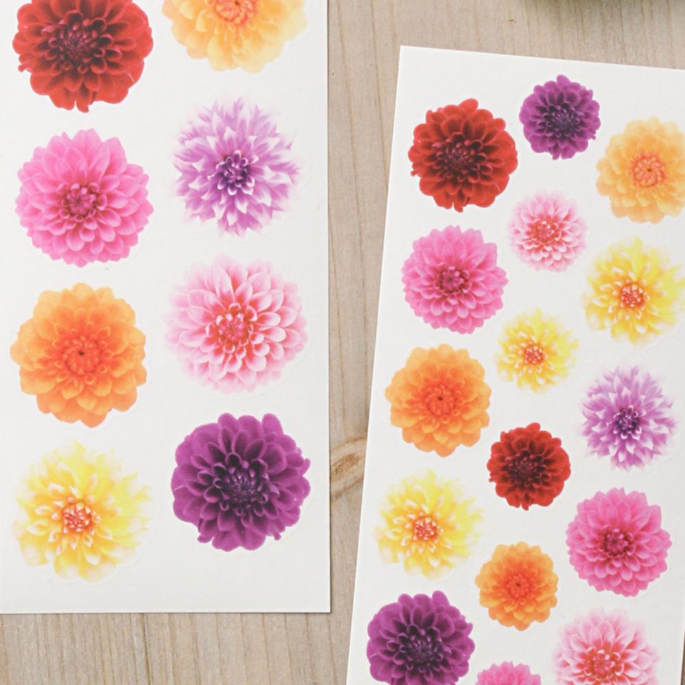 G043 透ける花シール ダリア フラワー 2枚組