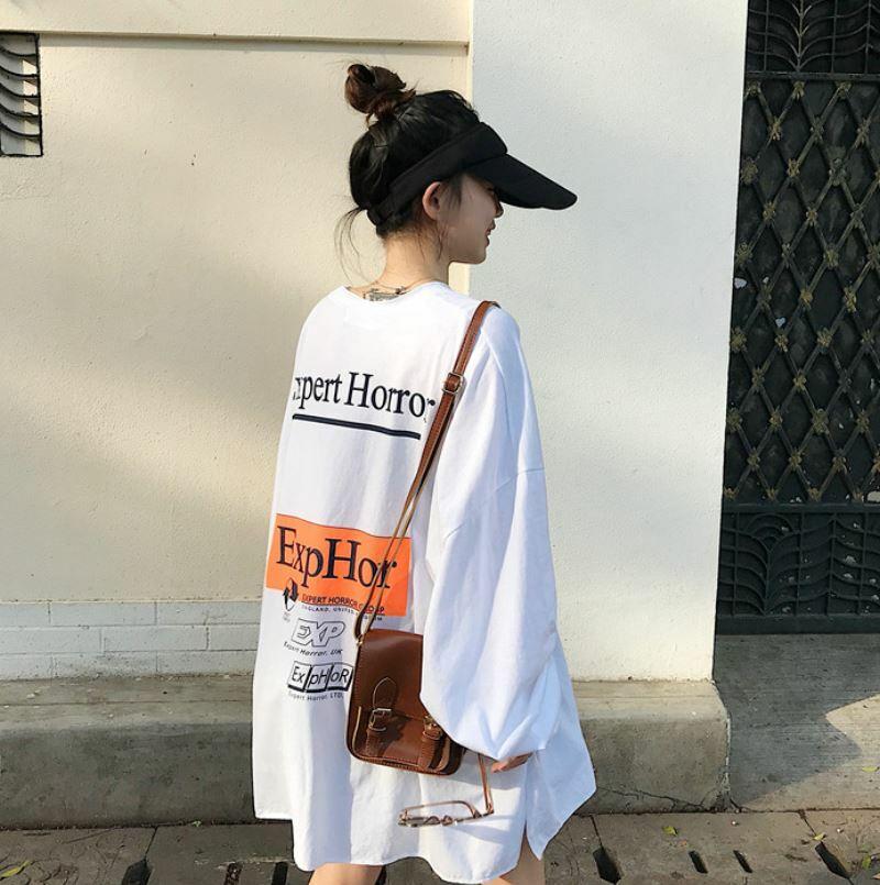 【送料無料】 ルーズなビッグシルエット♡ カジュアル バックプリント ボリューム袖 ロンT 長袖 Tシャツ