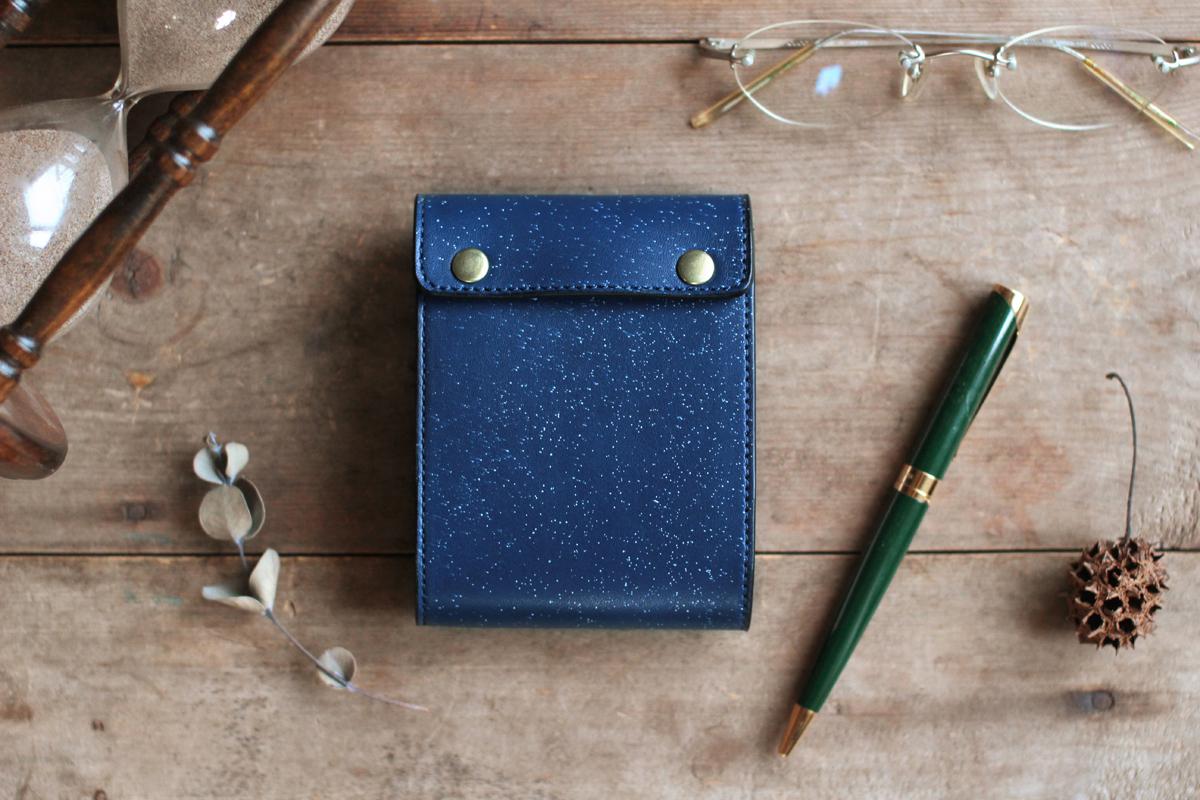 藍染革[migaki]A7サイズメモ帳 【数多】