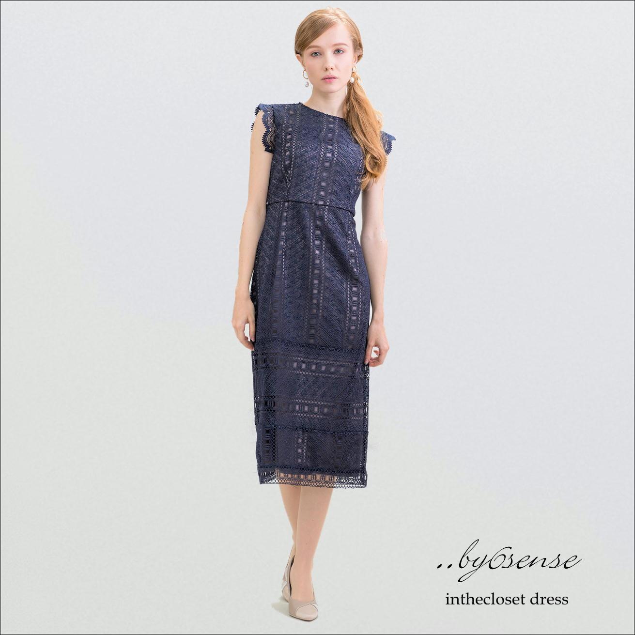 Navy 幾何学的レースタイトドレス (結婚式お呼ばれ・パーティシーン対応)