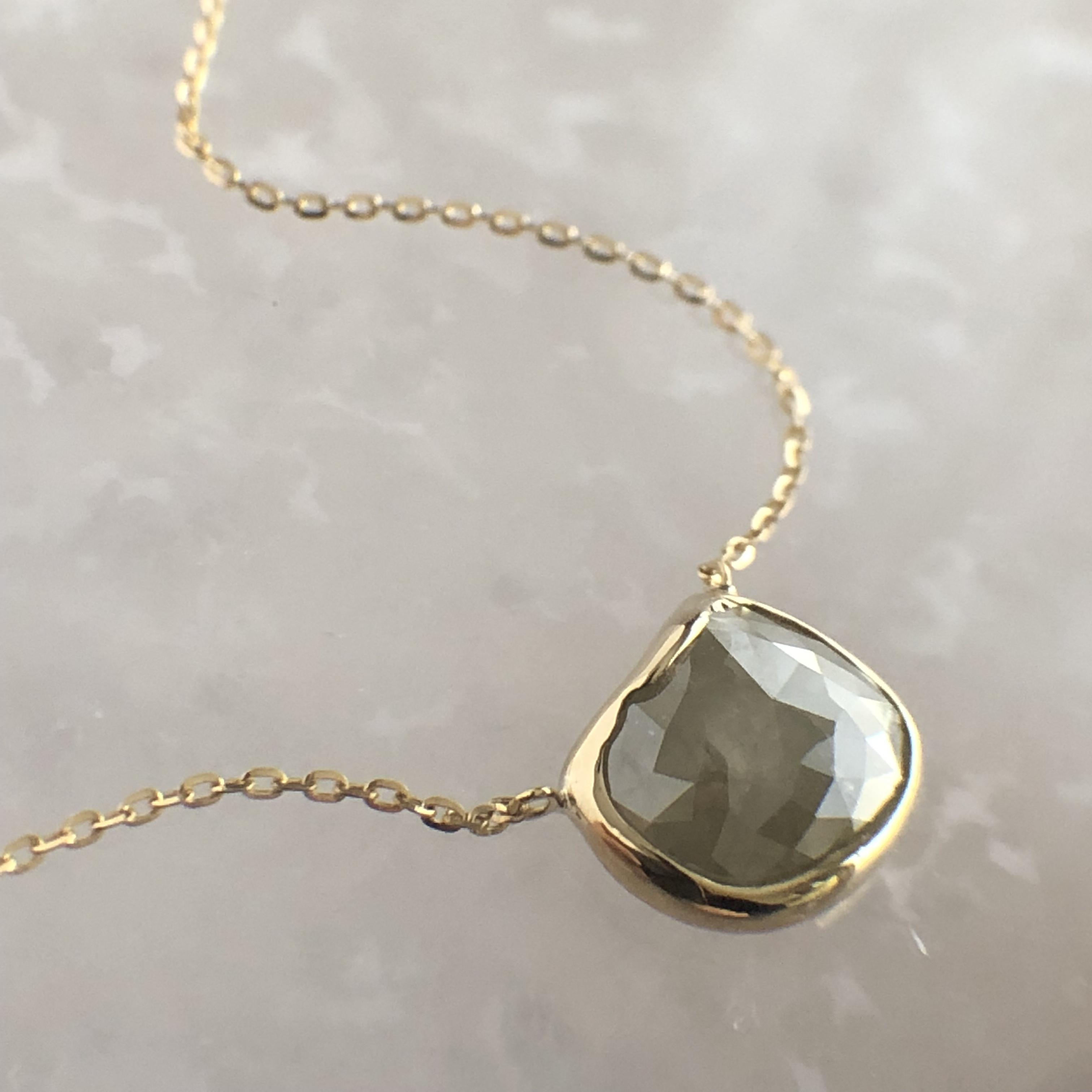 ナチュラルダイヤモンド ペンダント 1.61ct チェカ K18イエローゴールド 鑑別書付