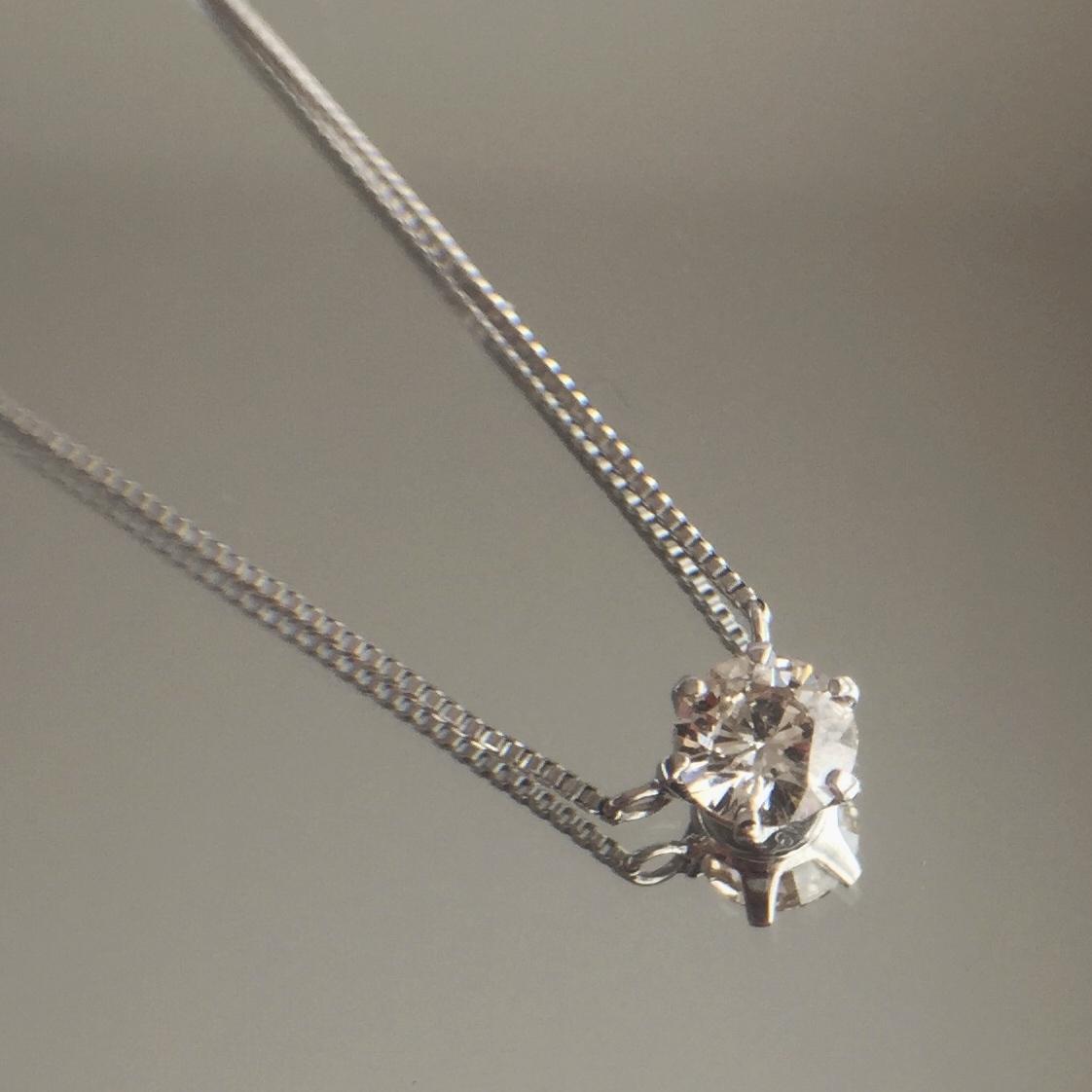 ダイヤモンド ペンダント 0.239ct K18ホワイトゴールド  チェカ 鑑別書付